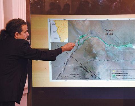 La Paz.El vicecanciller JuanCarlos Alurralde, en la explicación de los argumentos de Bolivia; fue ayer.