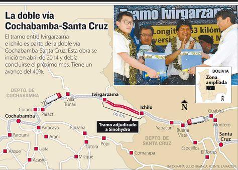 La doble vía Cochabamba-Santa Cruz. Infografía: La Razón