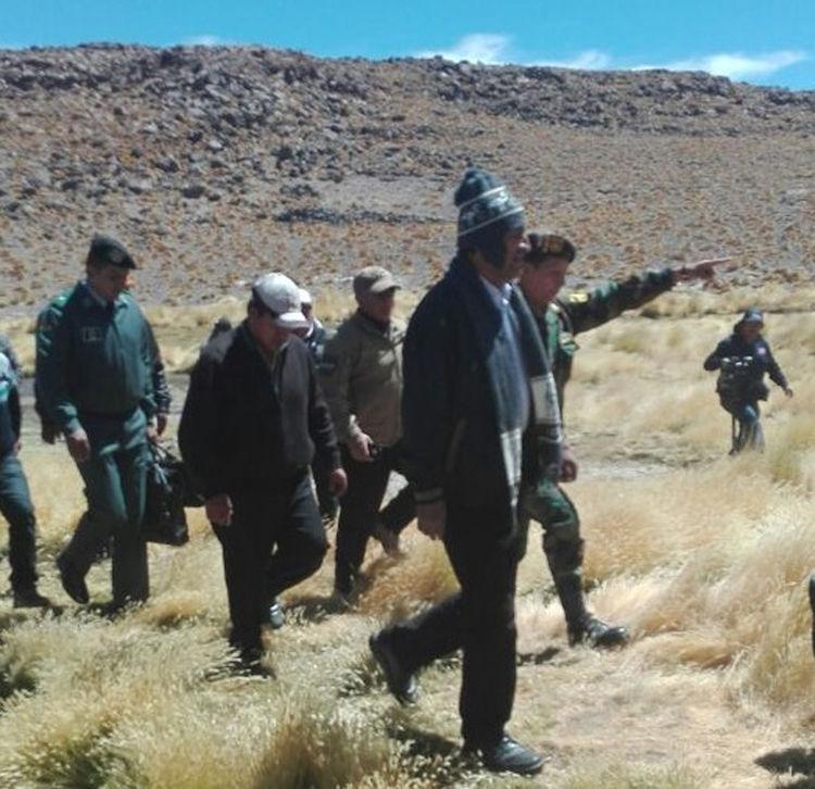 El presidente Evo Morales inspecciona el Silala. Foto: ABI