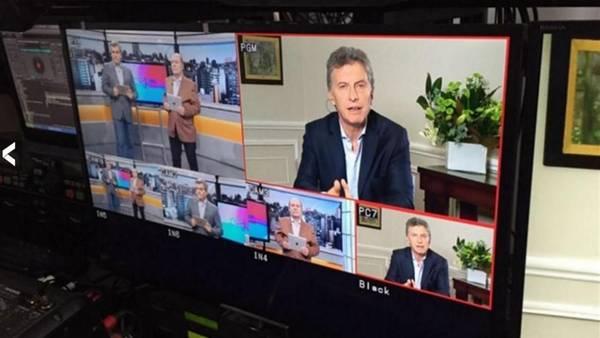"""Macri en la imagen que distribuyó """"La Voz del Interior"""""""