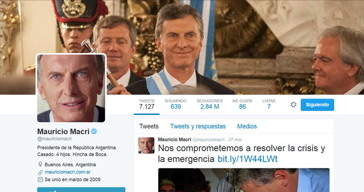 Cuenta Mauricio Macri, presidente de Argentina: @mauriciomacri