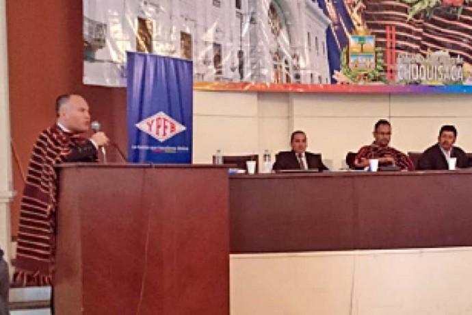 EJECUTIVO. El director de Repsol Bolivia, Diego Díaz Baldasso, en su reciente visita a Sucre.