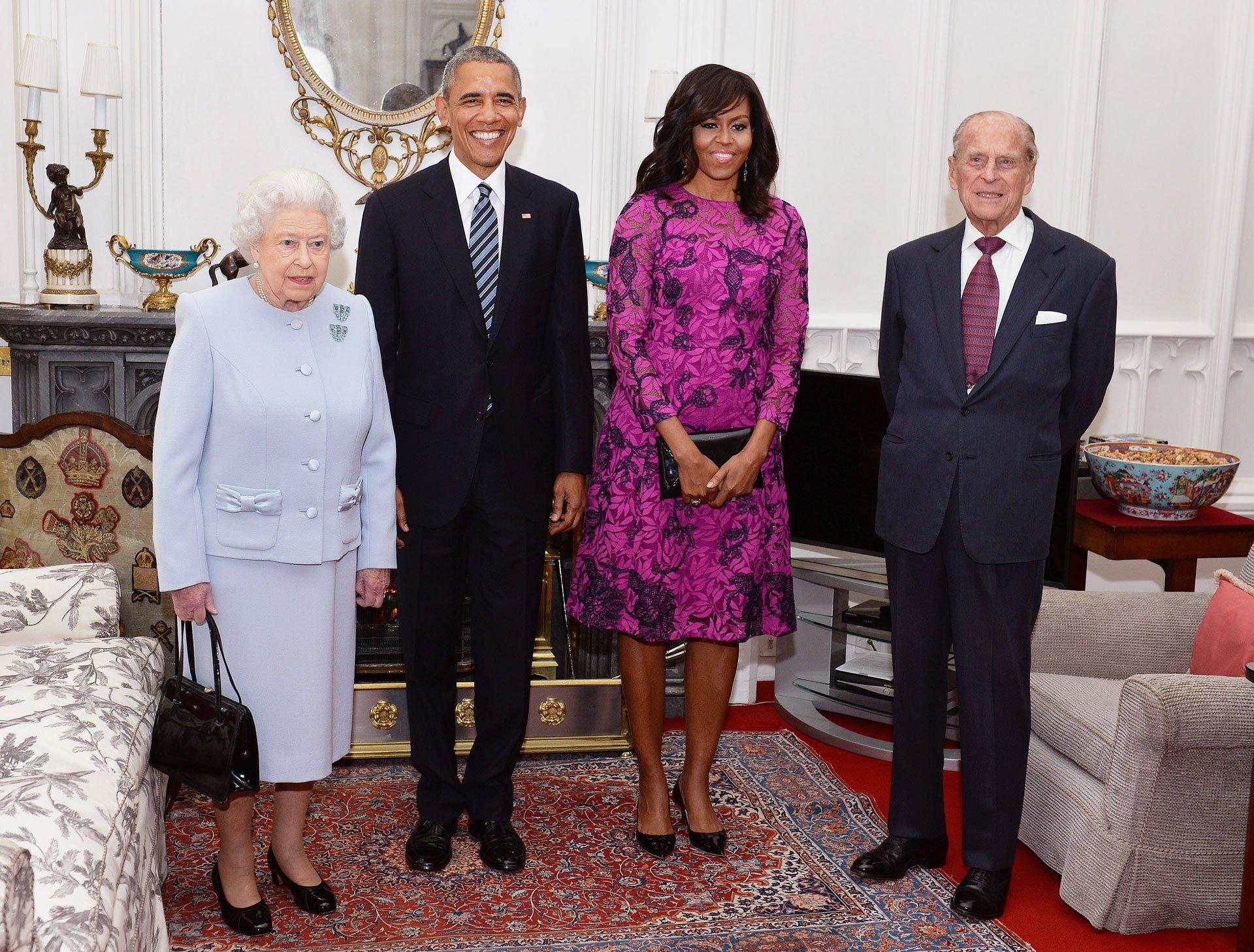 La foto oficial: Isabel II, Barack Obama, Michelle Obama y Felipe, duque de Edimburgo