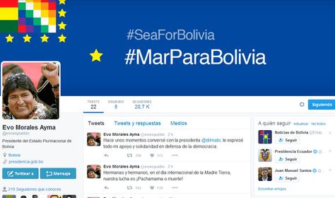 Captura de la página de Twitter del presidente Evo Morales