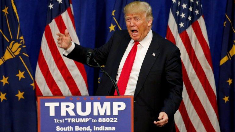 Donald Trump en su campaña en Indiana