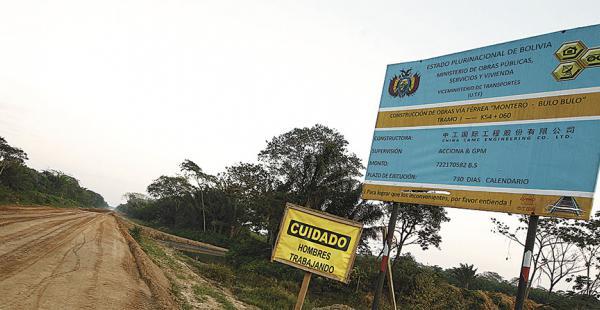 La empresa china CAMC incumplió con la ejecución del tramo ferroviario Montero-Bulo Bulo y el Gobierno rescindió el contrato con los asiáticos