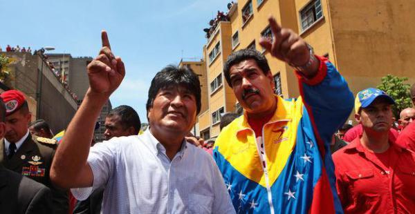 El presidente de Bolivia, Evo Morales envío su respaldo al Gobierno de Venezuela, encabezado por Nicolás Maduro, tras la decisión de los Estados Unidos de declarar alerta en contra de este