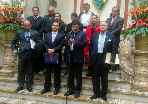 Conferencia de prensa del presidente Evo Morales y los empresarios en Palacio de Gobierno