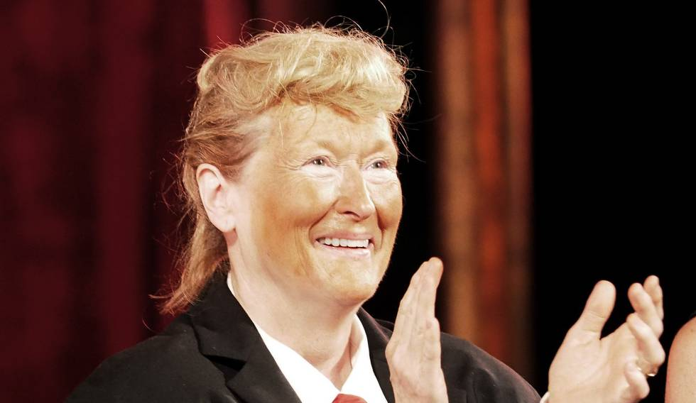 Meryl Streep disfrazada de Donald Trump anoche en la gala del Public Theater.