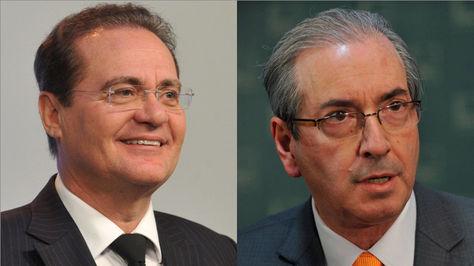 Renan Calheiros, jefe del senado y Eduardo Cunha, presidente de la cámara de Diputados de Brasil.