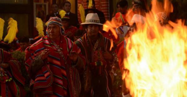 El presidente Evo Morales recibió el Año Nuevo Aymara Amazónico en la residencia presidencial. Foto: APG