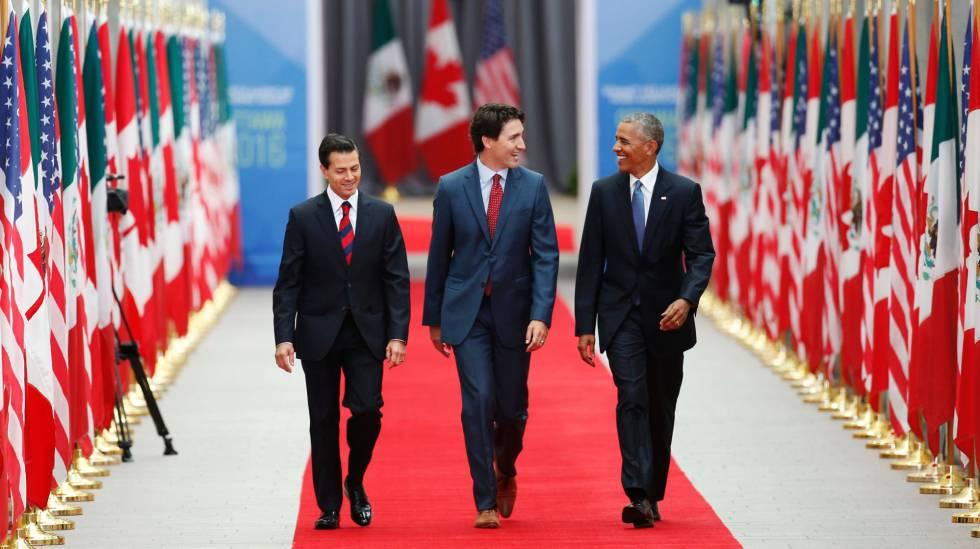 Los presidentes de México, Canadá y Estados Unidos en la cumbre de NAFTA en Ottawa este miércoles.