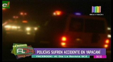 Policías sufren accidente en Yapacaní