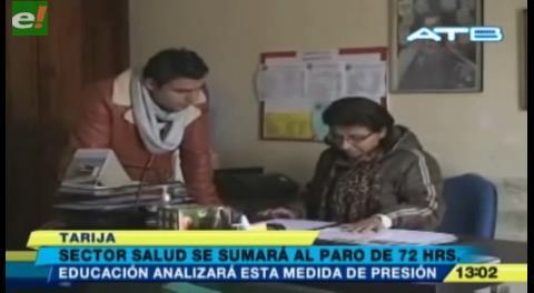 Sector salud de Tarija acatará el paro de la COB