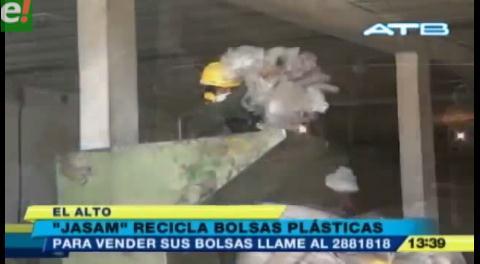 El Alto. Empresa cuida el medio ambiente reciclando bolsas plásticas