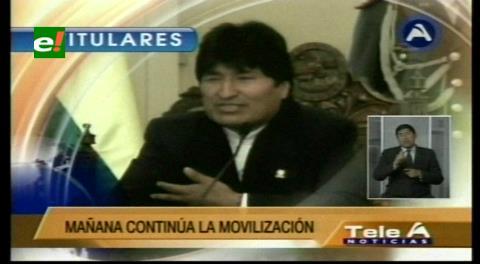 Titulares de TV: Morales afirma que el paro de la COB no afectará el doble aguinaldo