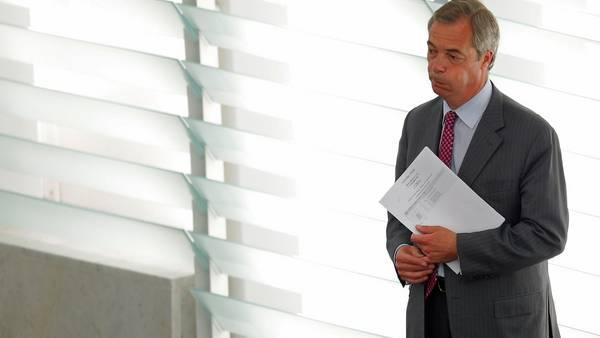 El europarlamentario británico Nigel Farage durante una sesión plenaria del Parlamento Europeo, en Estrasburgo.  AFP