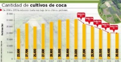 Bolivia registra la erradicación de coca más baja en 13 años