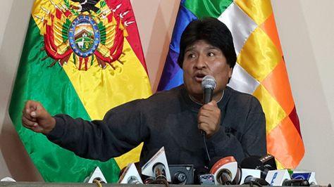 El presidente Evo Morales en la conferencia de prensa en la que anunció la defensa de las aguas del Silala en beneficio de la humanidad. Foto: Ángel Guarachi