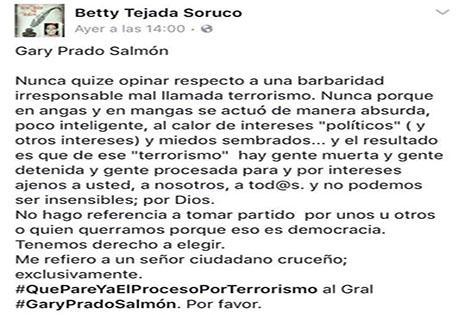 Publicación de la expresidenta de Diputados por el caso terrorismo.