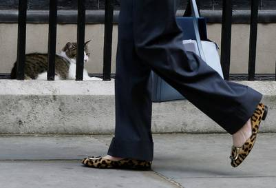 Los infaltables zapatos de animal print de Theresa May, la flamante dueña de Larry, en Downing Street. / AP