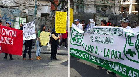 Familiares de víctimas de negligencia médica (izq.) y la movilización de galenos.