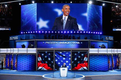 El presidente de Estados Unidos, Barack Obama, participa en el tercer día de la Convención Nacional Demócrata 2016 en el Wells Fargo Center de Filadelfia, Pensilvania (EE.UU.). Foto: EFE