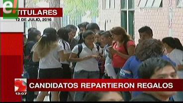 Titulares de TV: Proselitismo durante la votación en la Uagrm