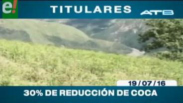 Titulares de TV: Cocaleros de los Yungas confirman la reducción de un 30% de la producción de coca