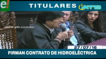 """Titulares de TV: Gobierno firma contrato para el proyecto hidroeléctrico """"El Bala"""""""