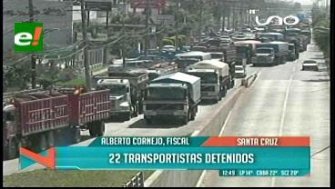 22 transportistas detenidos en Santa Cruz, el sector anuncia marchas