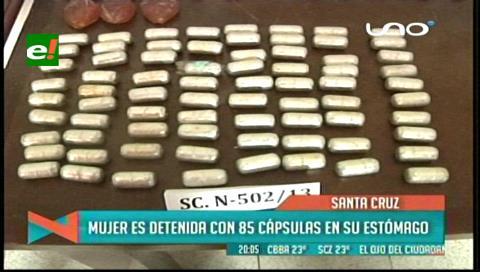 Detienen en Viru Viru a mujer con 80 cápsulas de cocaína en su estómago