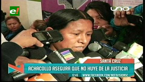 Ex ministra Achacollo es dada de alta y asegura que no huye de la justicia