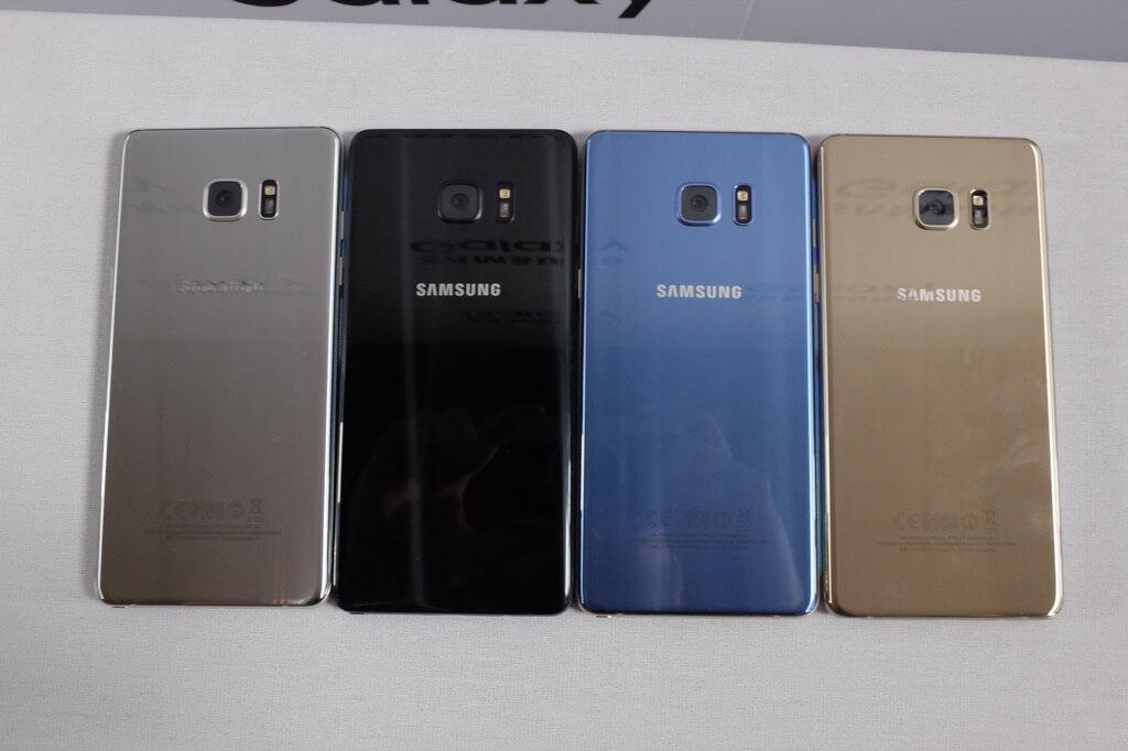 Samsung Galaxy Note 7 todos los colores trasera