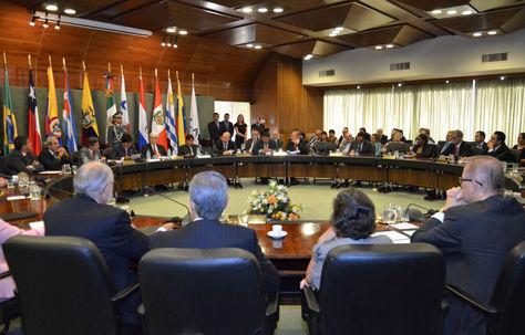 El presidente Evo Morales en su visita a la sede de la Aladi.