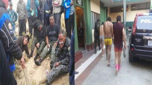Policías y mineros
