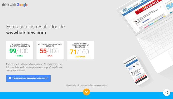 test google sitios web móviles