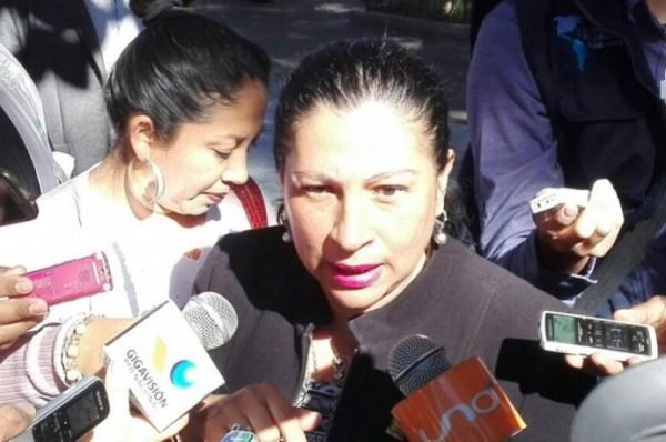La senadora por el PDC, Patricia Gomez, durante su intervención frente a los periodistas. Foto: Enrique Quintanilla