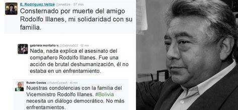 Mensajes de autoridades sobre la muerte del viceministro de Régimen Interior, Rodolfo Illanes.
