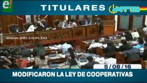 Titulares de TV: Modificaron la Ley de Cooperativas