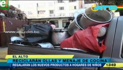 En marcha campaña de reciclaje de ollas y utensilios de cocina en El Alto