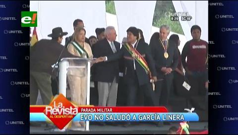 Evo evitó saludar a García Linera en la Parada militar