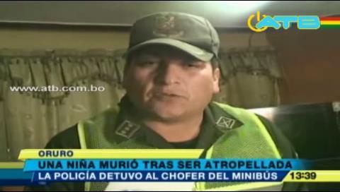 Niña muere tras ser atropellada por minibús en Oruro