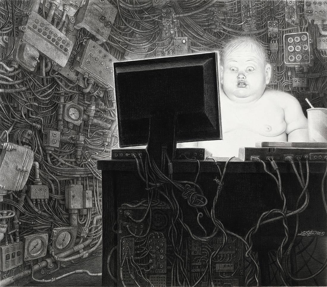 Laurie Lipton, lápiz, dibujo, 'Info Glut 2010' ('El exceso de información 2010'), carboncillo y lápiz sobre papel, 50.5x58 cm / 20x23
