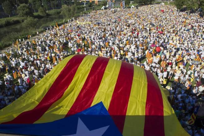 Un momento de la manifestación de la Diada de 2016 en Lleida. (EFE)