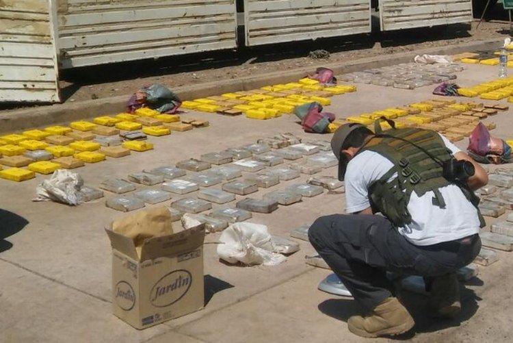 <div>Uno de los investigadores de Gendarmería, analizando la droga. Foto: Ismael Chamat</div>