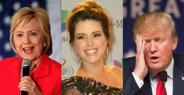 Hillary Clinton y Donald Trump se enfrentaron en un debate la noche del lunes. La ex Miss Universo, Alicia Machado (centro), fue nombrada en dicho encuentro