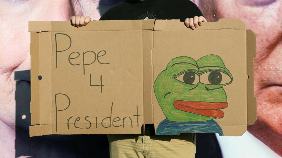 Un joven sujeta un cartel que muestra a la Rana Pepe