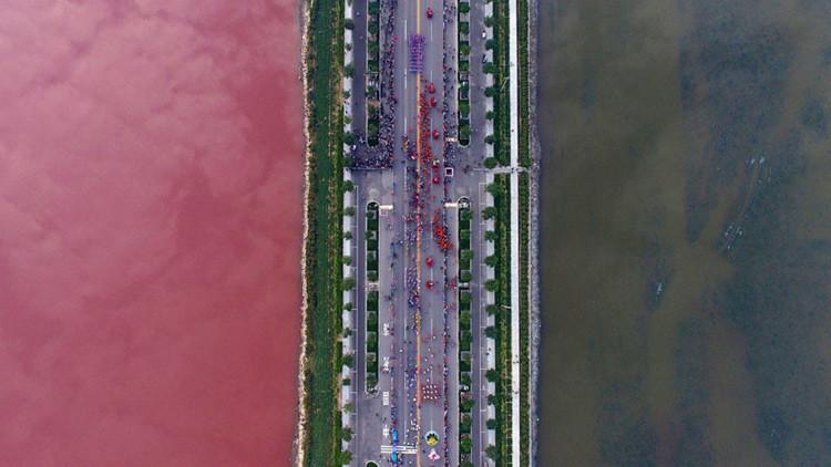 El lago Xiechi , al sur de la ciudad china de Yuncheng