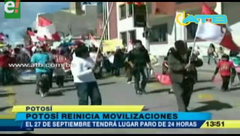 Potosí determina paro este 27 de septiembre